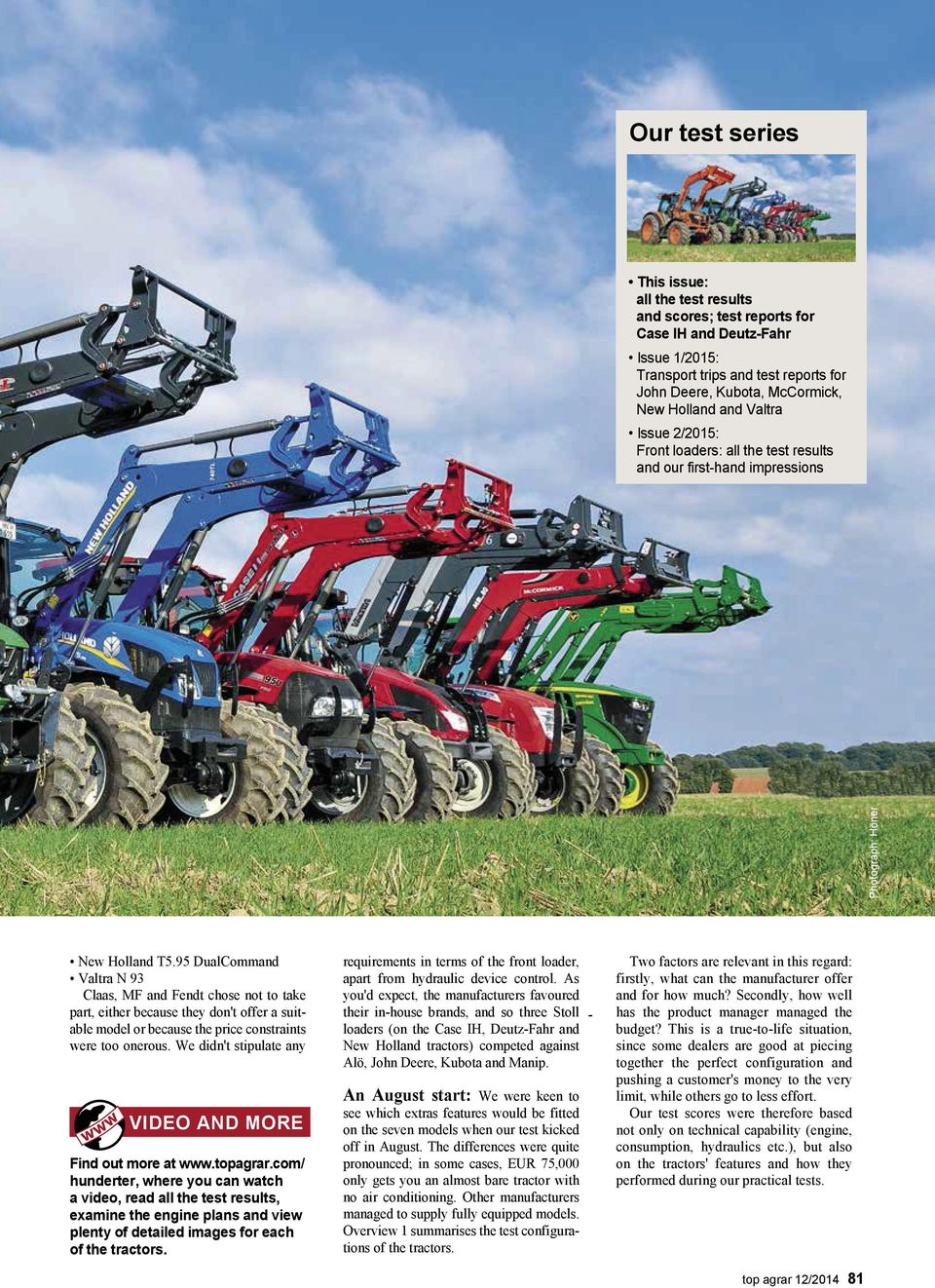 put to the test Seven 100 series tractors TOP AGRAR TRACTOR