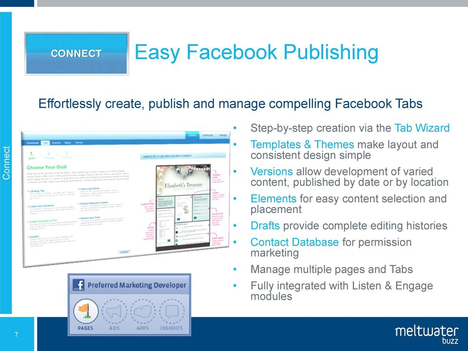 content, published by date or by location Elements for easy content selection and placement Drafts provide complete
