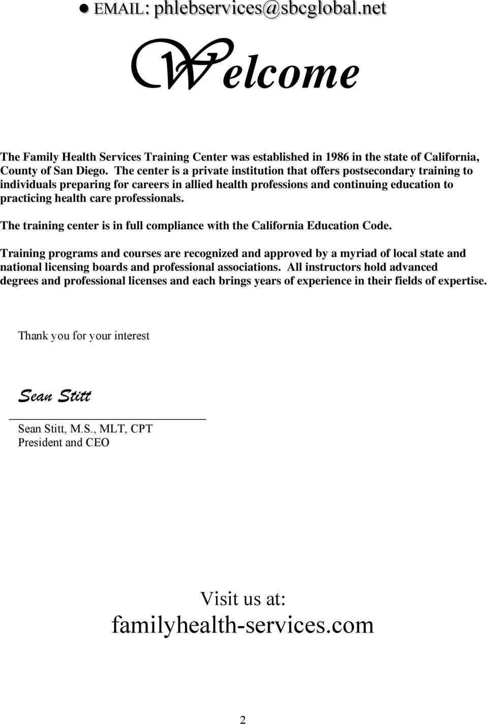 The Family Health Services Training Center State Approved Phlebotomy