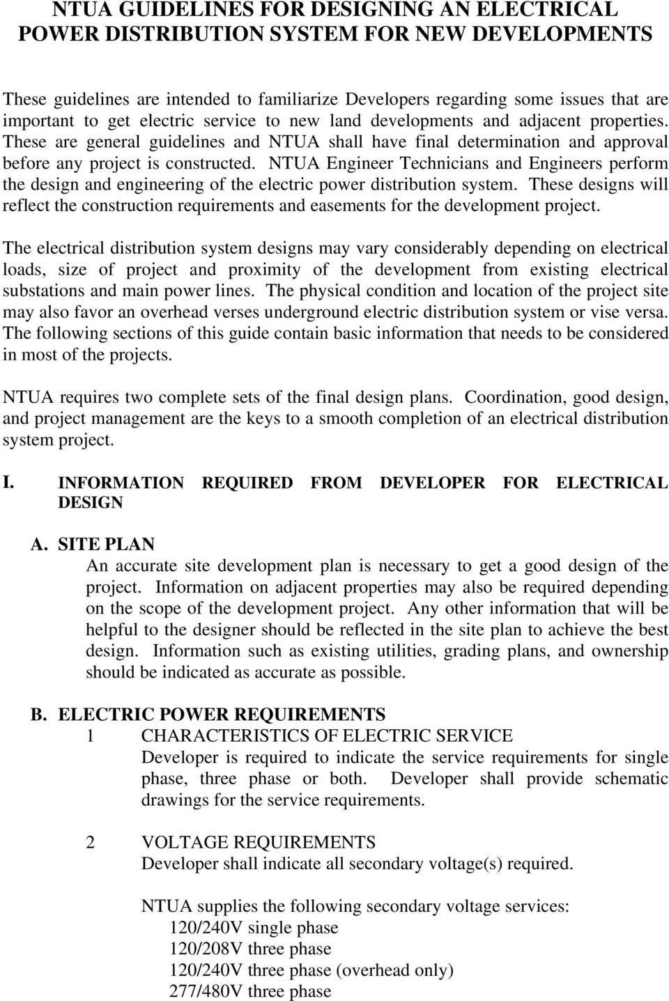 NTUA GUIDELINES FOR DESIGNING AN ELECTRICAL POWER