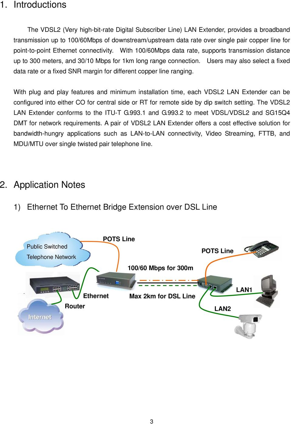 Vdsl2 Lan Extender User Manual Pdf Vdsl Wiring Diagram Users May Also Select A Fixed Data Rate Or Snr Margin For Different Copper