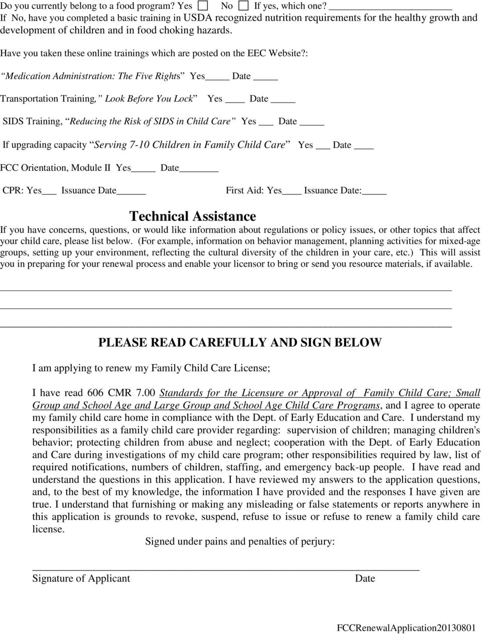 Family Child Care License Renewal