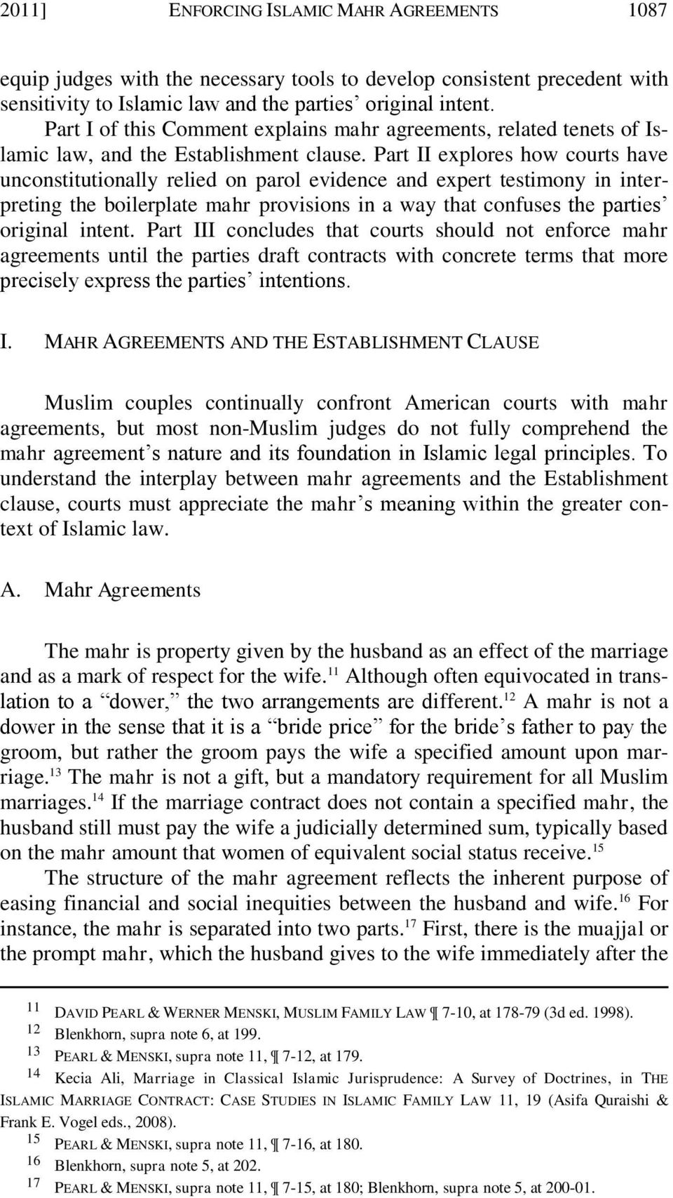Enforcing Islamic Mahr Agreements The American Judge S