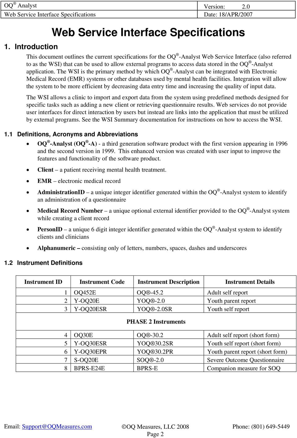 OQ Analyst Web Service Interface Specifications  Version PDF