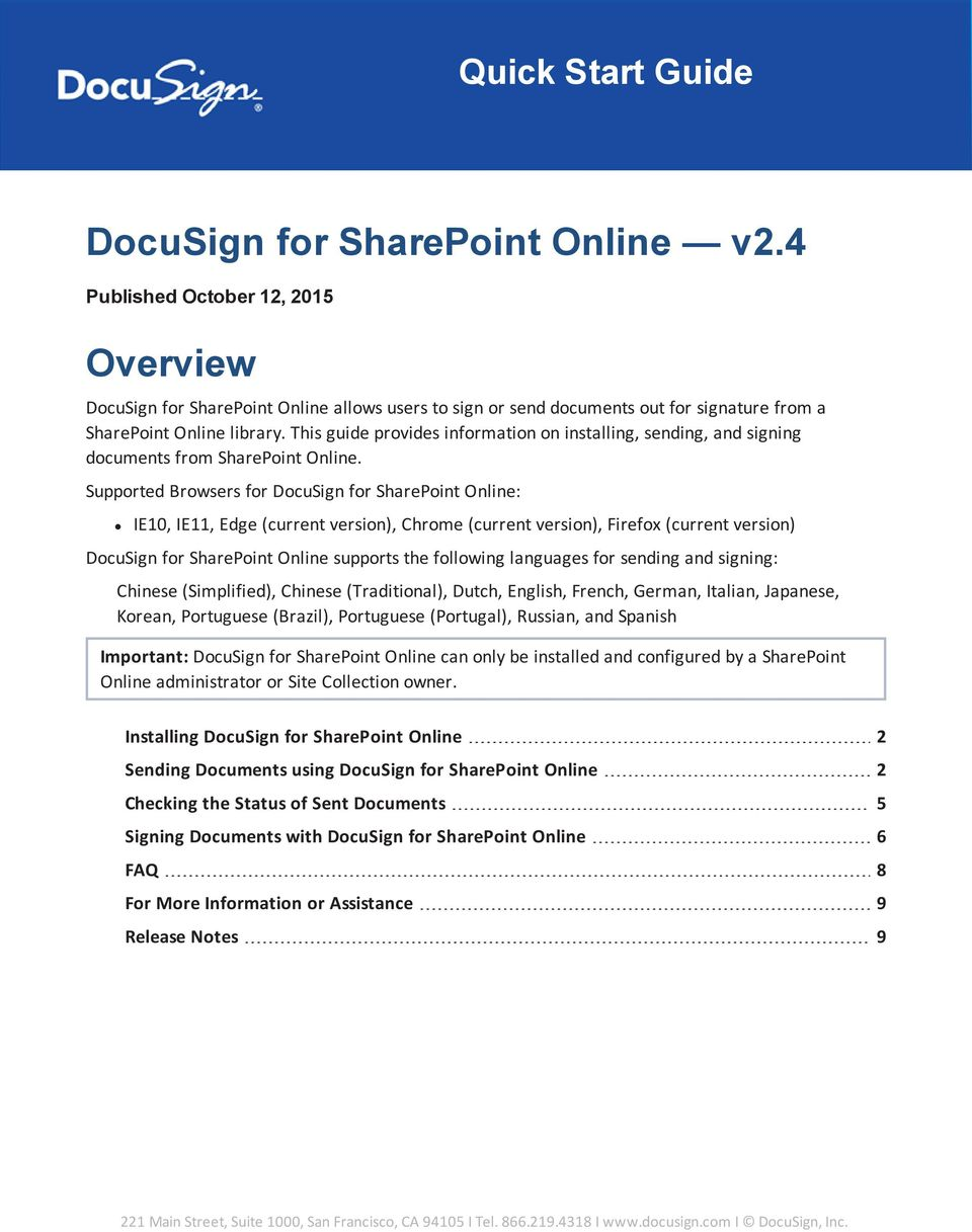 This guide provides information on installing, sending, and signing documents from SharePoint Online.
