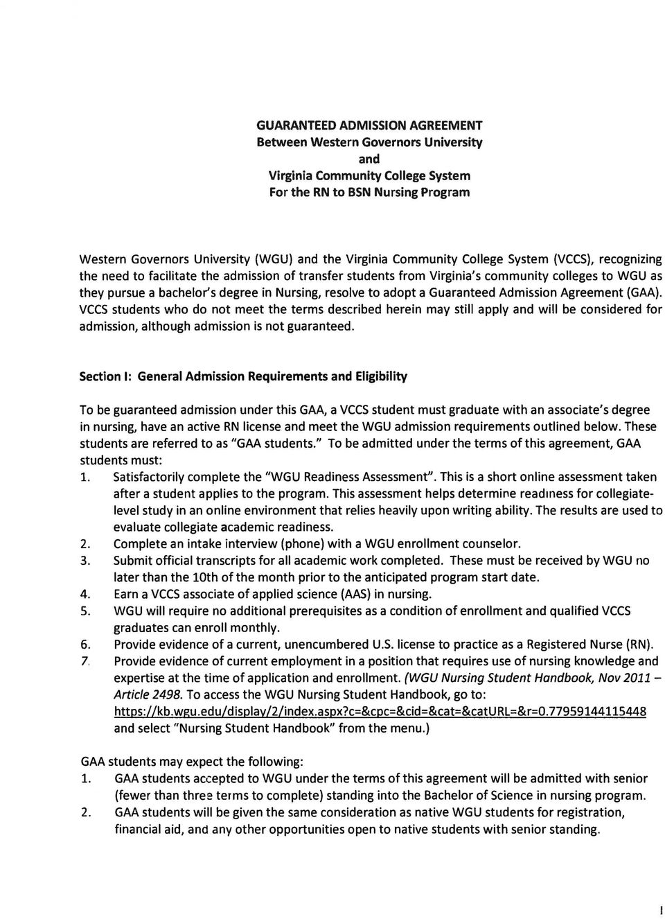 Guaranteed Admission Agreement Between Western Governors University