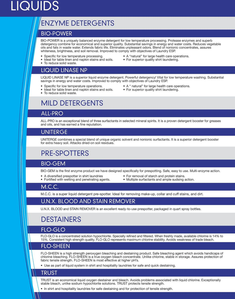 U  N  X  INCORPORATED  Laundry Product Guide - PDF