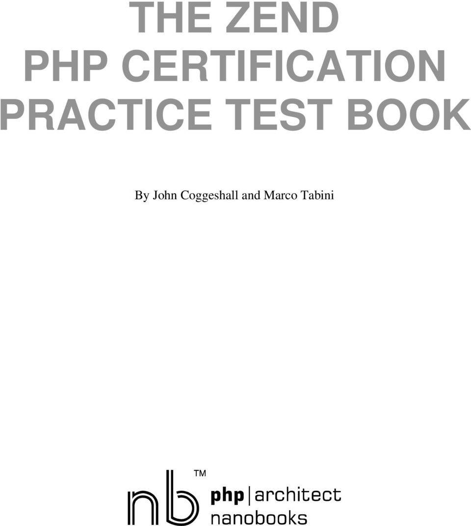 The Zend Php Certification Practice Test Book Pdf