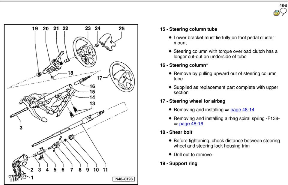 complete with upper section 17 - Steering wheel for airbag Removing and installing page 48-14 Removing and installing airbag spiral spring