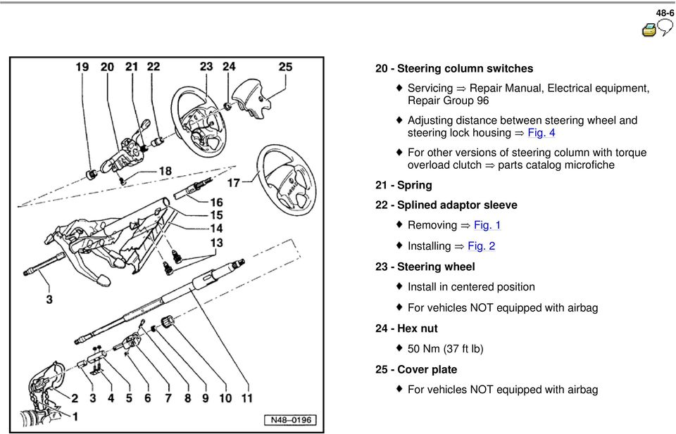 4 For other versions of steering column with torque overload clutch parts catalog microfiche 22 - Splined adaptor sleeve