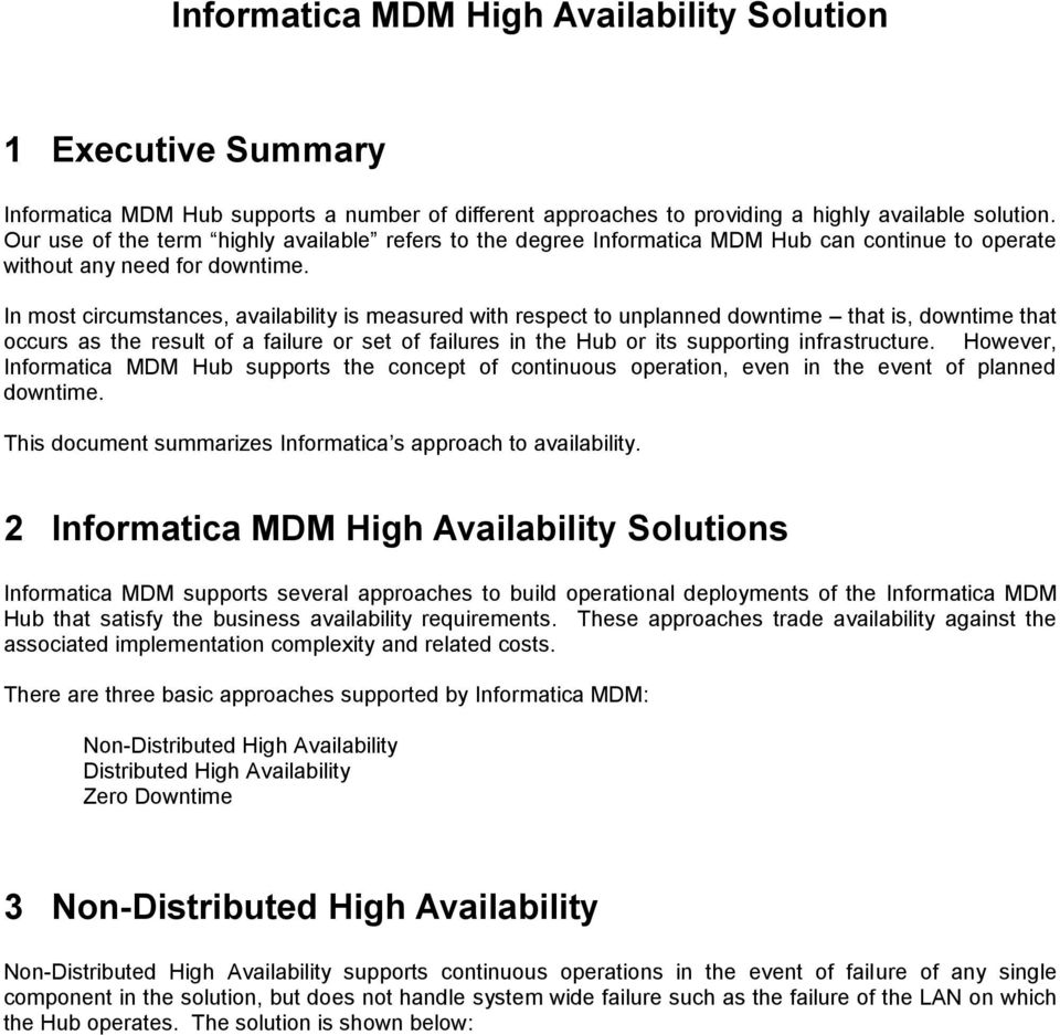 Informatica MDM High Availability Solution