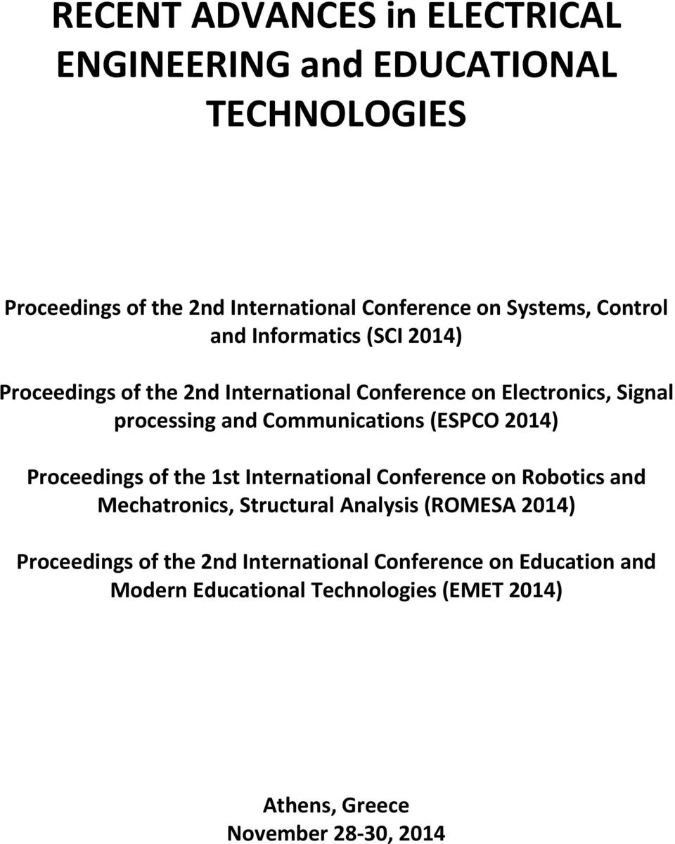 Recent Advances In Electrical Engineering And Educational Electric Rice Cooker Wiring Diagram Http Wwwtheietorg Forums Forum Communications Espco 2014 Proceedings Of The 1st International Conference On Robotics Mechatronics