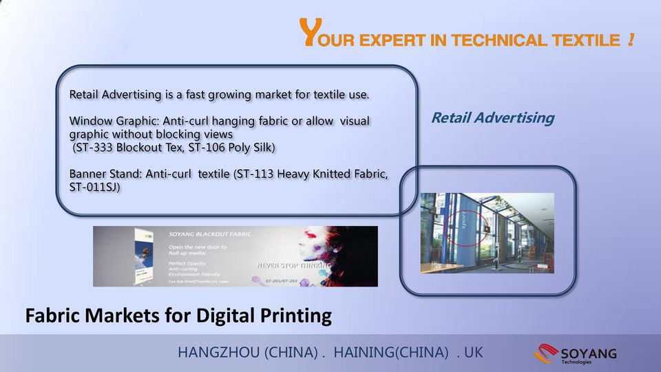 TECHNICAL TEXTILE & FABRIC FOR DIGITAL PRINTING HANGZHOU