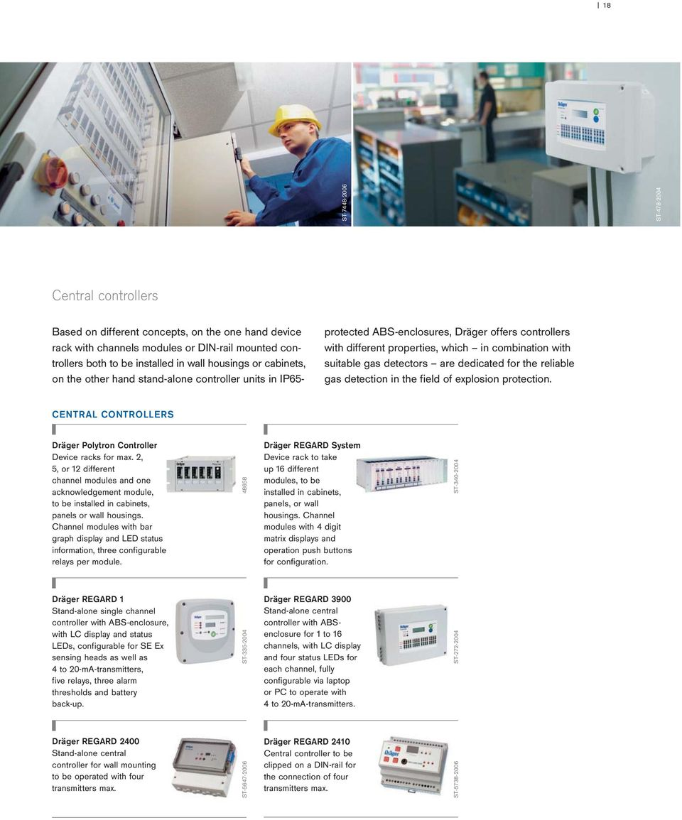 dedicated for the reliable gas detection in the field of explosion  protection. CENTRAL CONTROLLERS Dräger