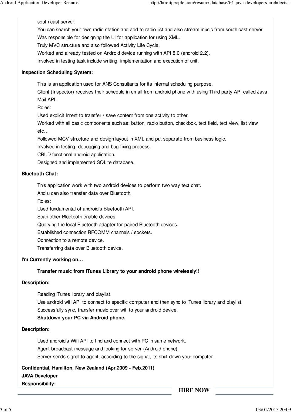 ANDROID APPLICATION DEVELOPER RESUME - PDF