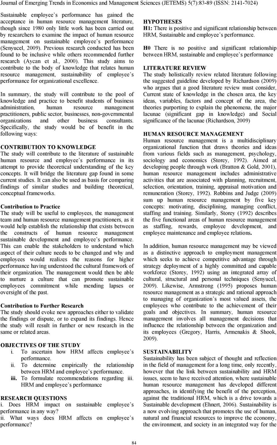 THE IMPACT OF HUMAN RESOURCE MANAGEMENT ON SUSTAINABILITY OF