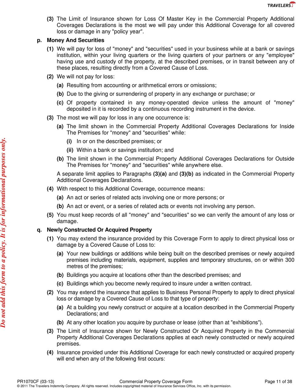 COMMERCIAL PROPERTY COVERAGE FORM - PDF