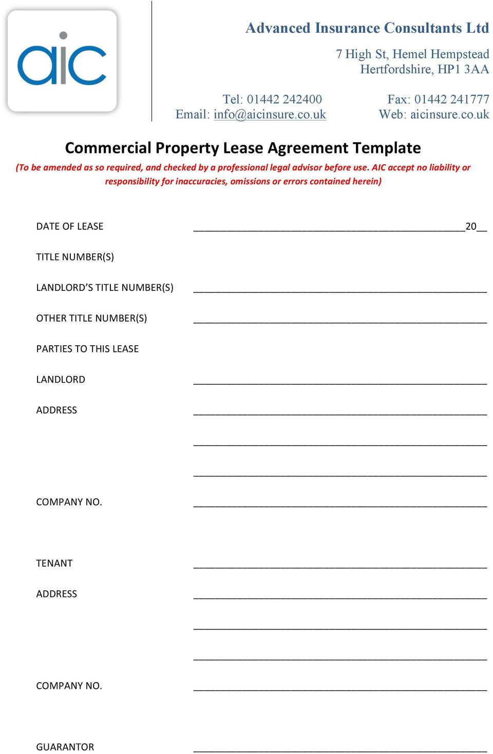 AIC accept no liability or responsibility for inaccuracies, omissions or errors contained herein) DATE OF LEASE 20 TITLE NUMBER(S) LANDLORD S