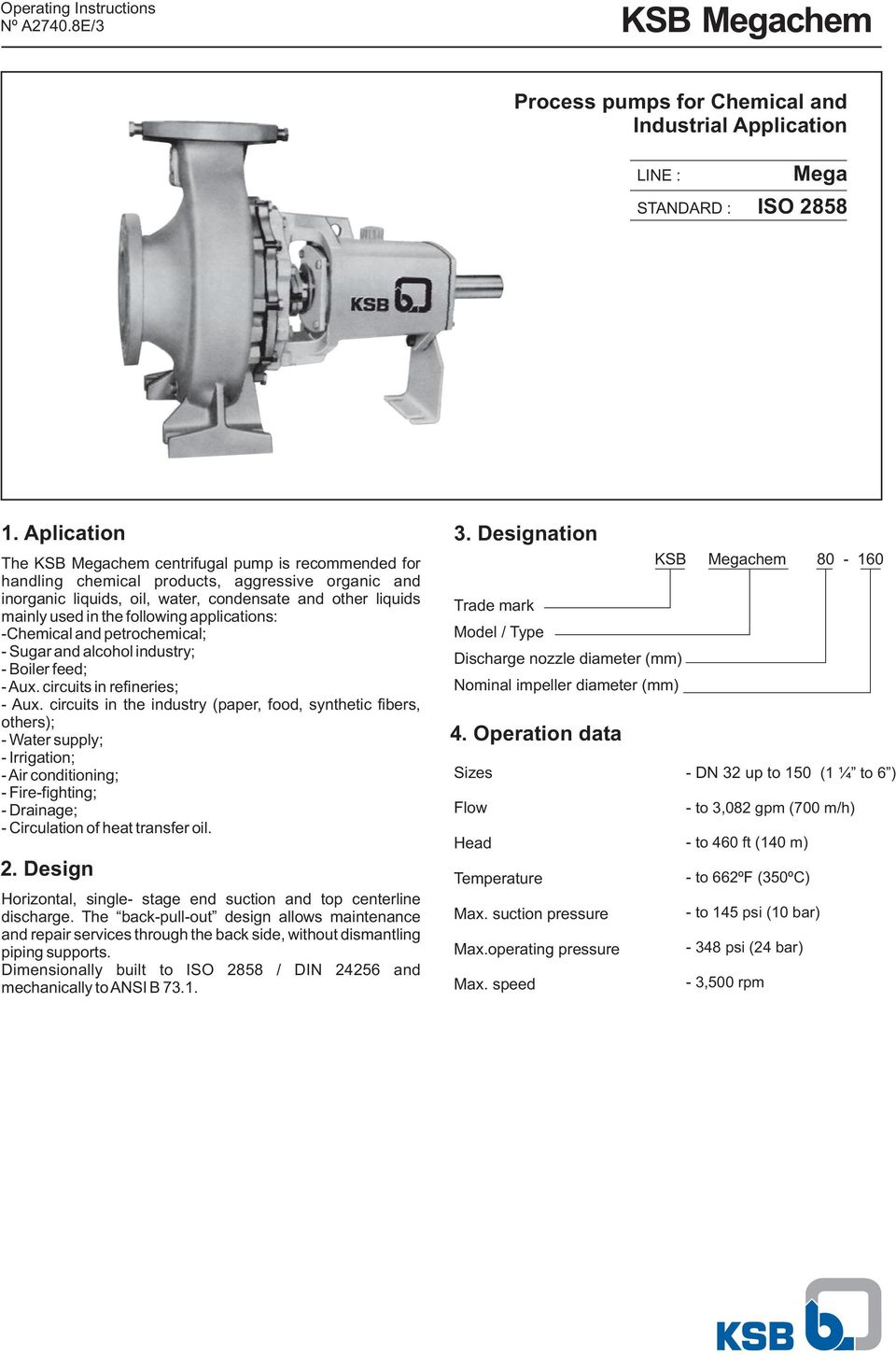 KSB Megachem  Process pumps for Chemical and Industrial Application