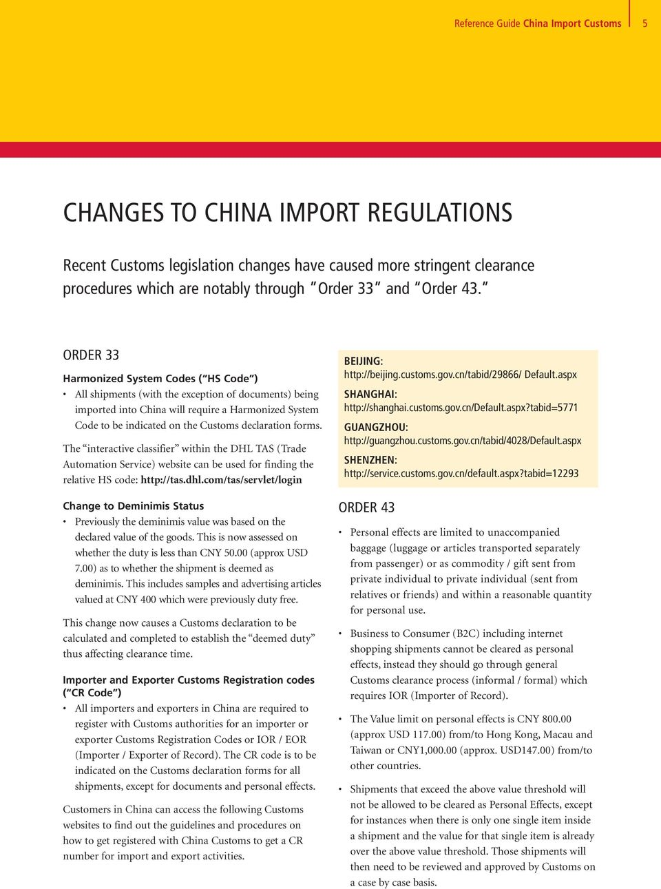 Reference Guide CHINA CUSTOMS  - PDF