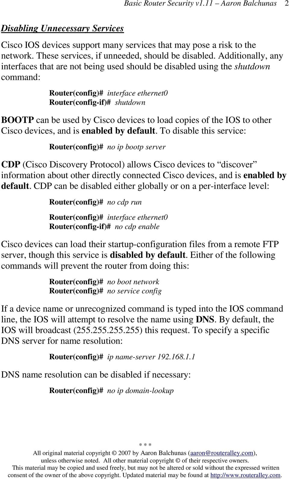 Basic Router Security - - PDF