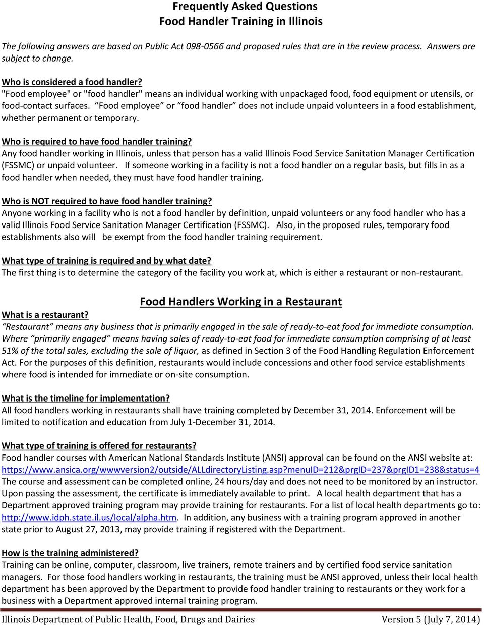 Frequently Asked Questions Food Handler Training In Illinois Pdf