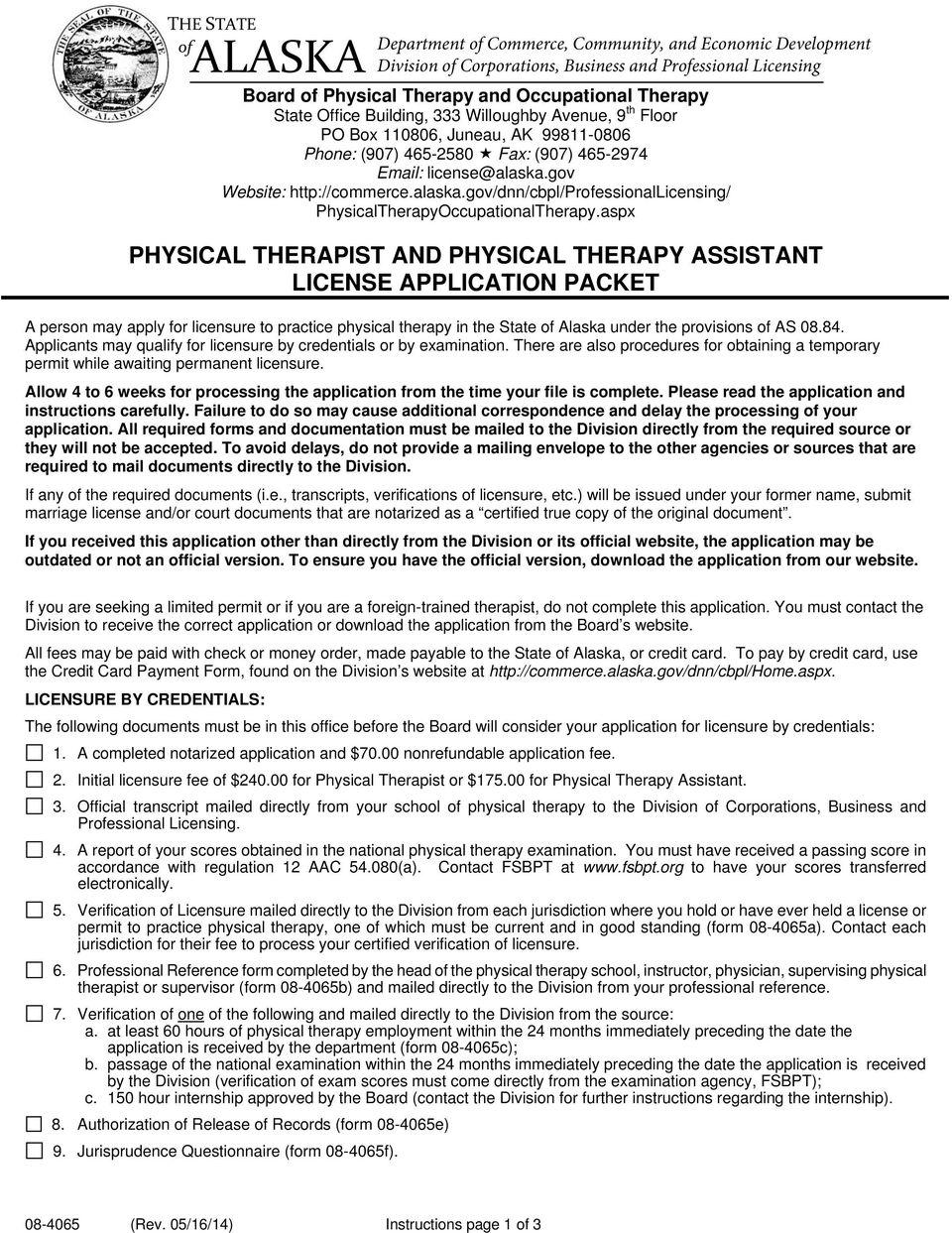 Physical Therapist And Physical Therapy Assistant License