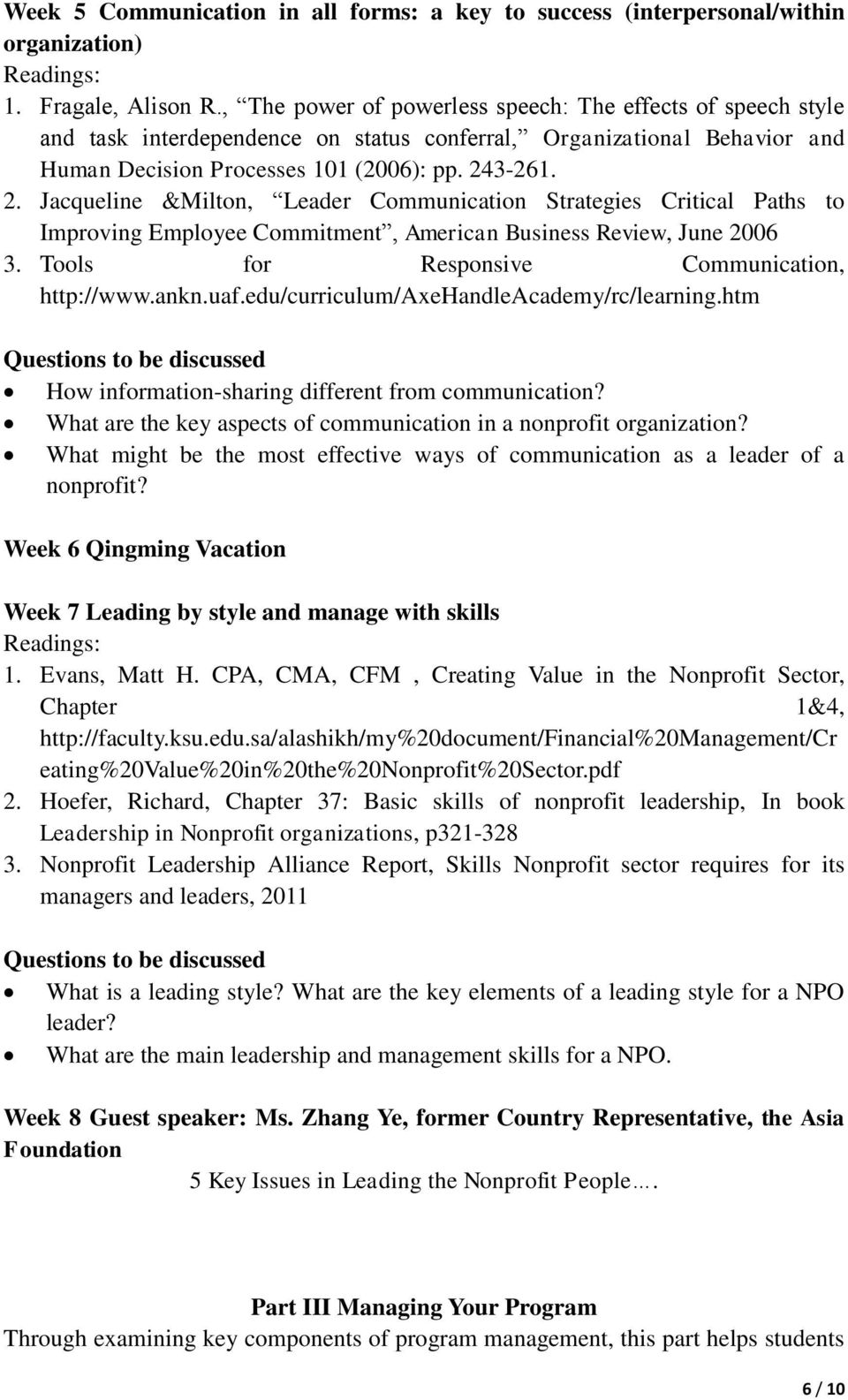 Introduction to Leadership and Management of  Non-profit