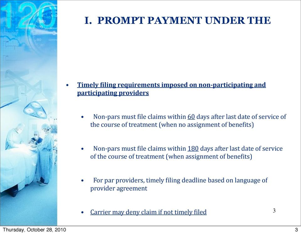 Prompt Payment Managed Care Claim Billing And Collection Issues