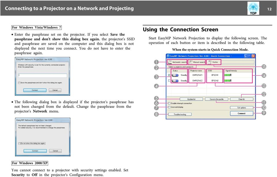 Using the Connection Screen Strt EsyMP Network Projection to disply the following screen. The opertion of ech button or item is described in the following tble.