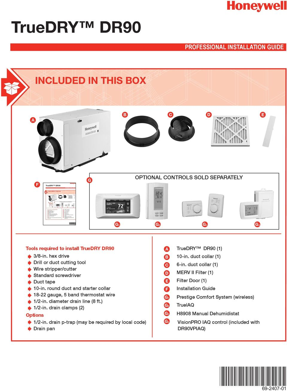 Truedry Dr90 Professional Installation Guide Optional Controls Sold Honeywell Thermostat Wiring Transcription