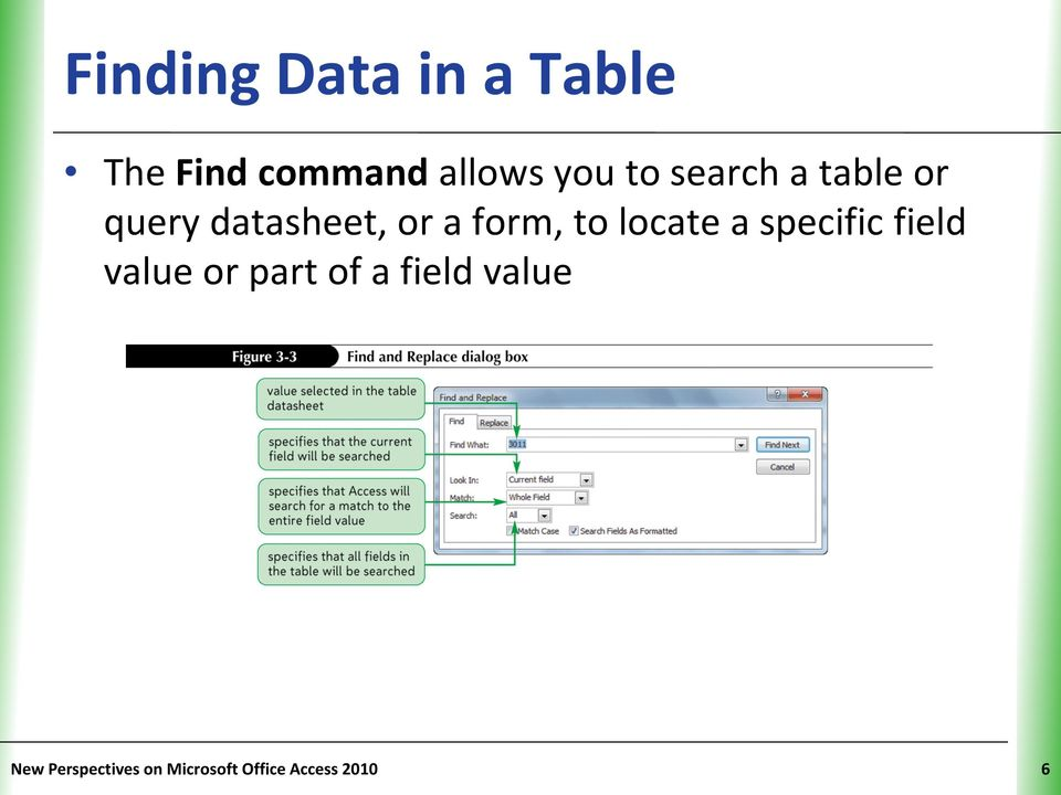 locate a specific field value or part of a field
