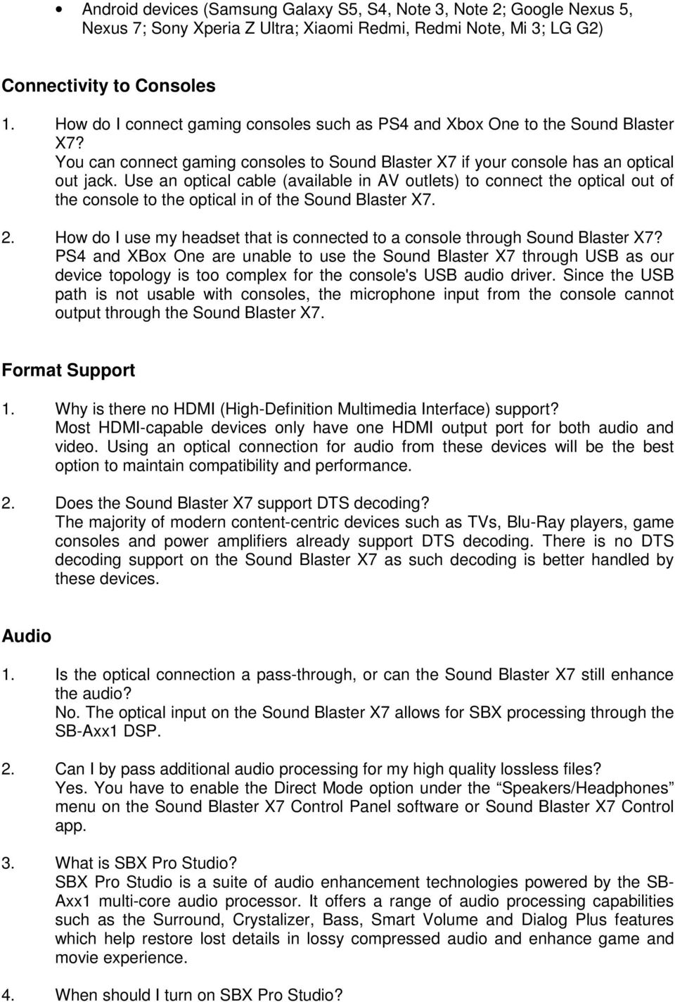 Frequently Asked Questions about the Sound Blaster X7 - PDF