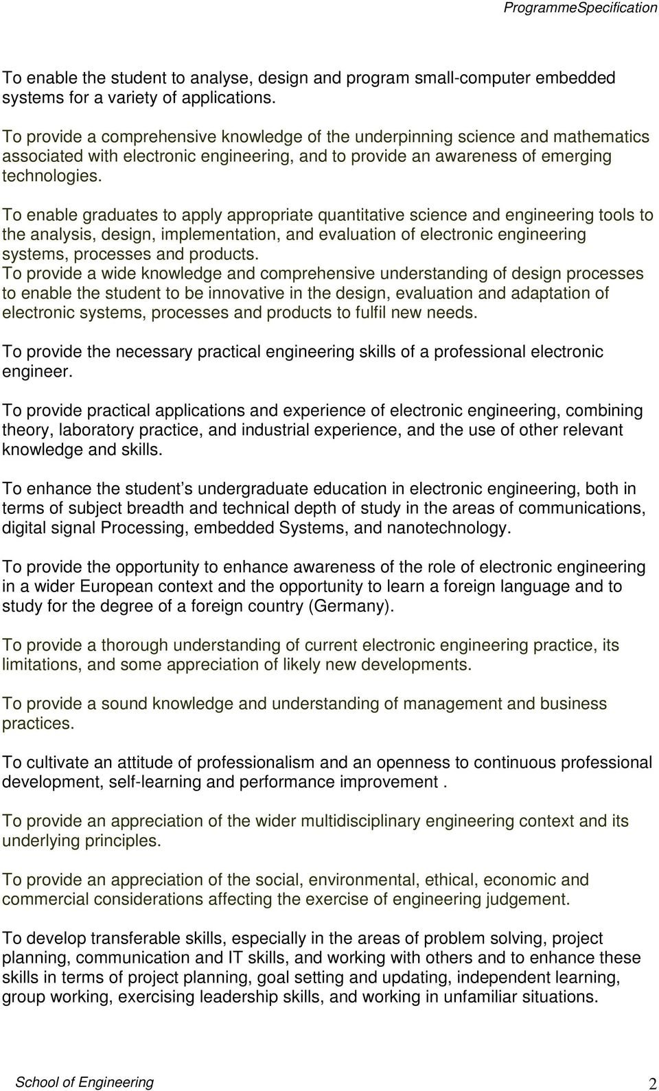 Programme Specification Meng Electronic Engineering Project For Technical Study Digital To Enable Graduates Apply Appropriate Quantitative Science And Tools The Analysis Design