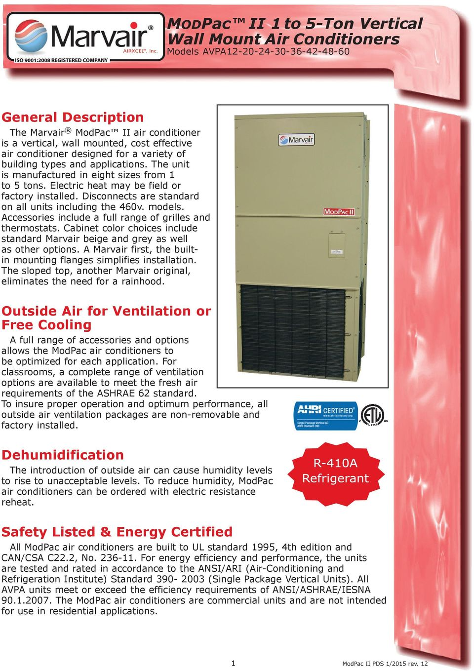 ModPac II 1 to 5-Ton Vertical Wall Mount Air Conditioners