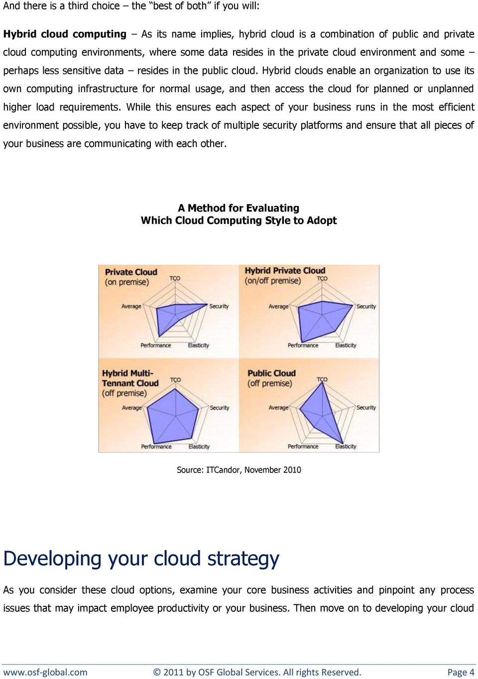 Hybrid clouds enable an organization to use its own computing infrastructure for normal usage, and then access the cloud for planned or unplanned higher load requirements.