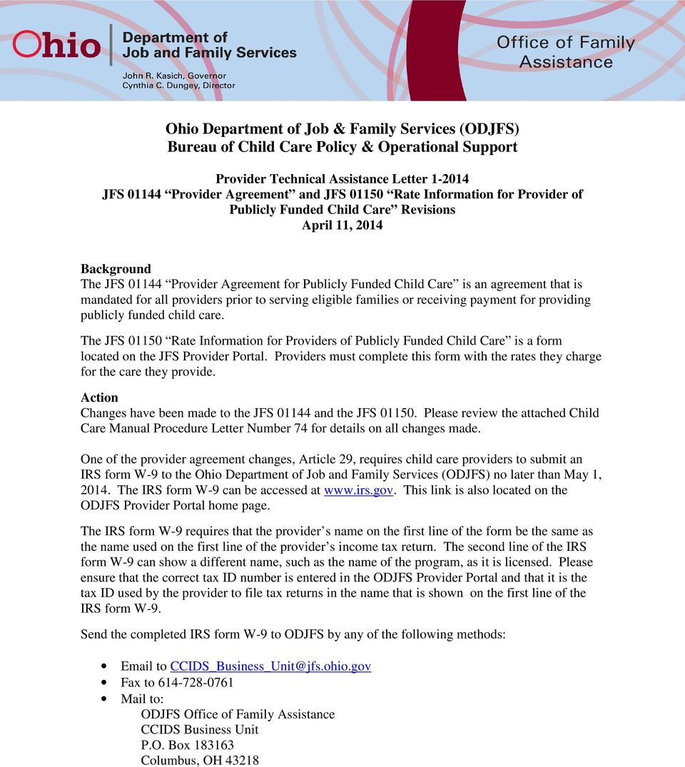 Ohio Department Of Job Family Services Odjfs Bureau Of Child Care Policy Operational Support Pdf Free Download