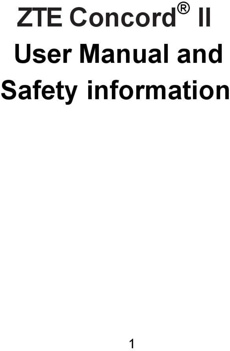 ZTE Concord II User Manual and Safety information - PDF