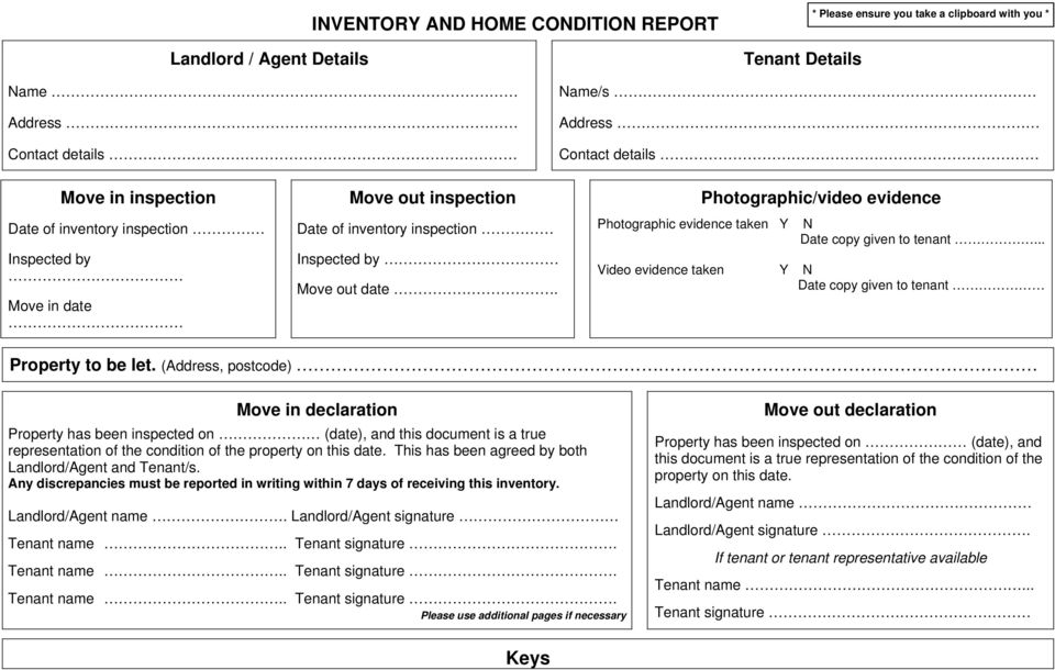 INVENTORY AND HOME CONDITION REPORT  Keys - PDF