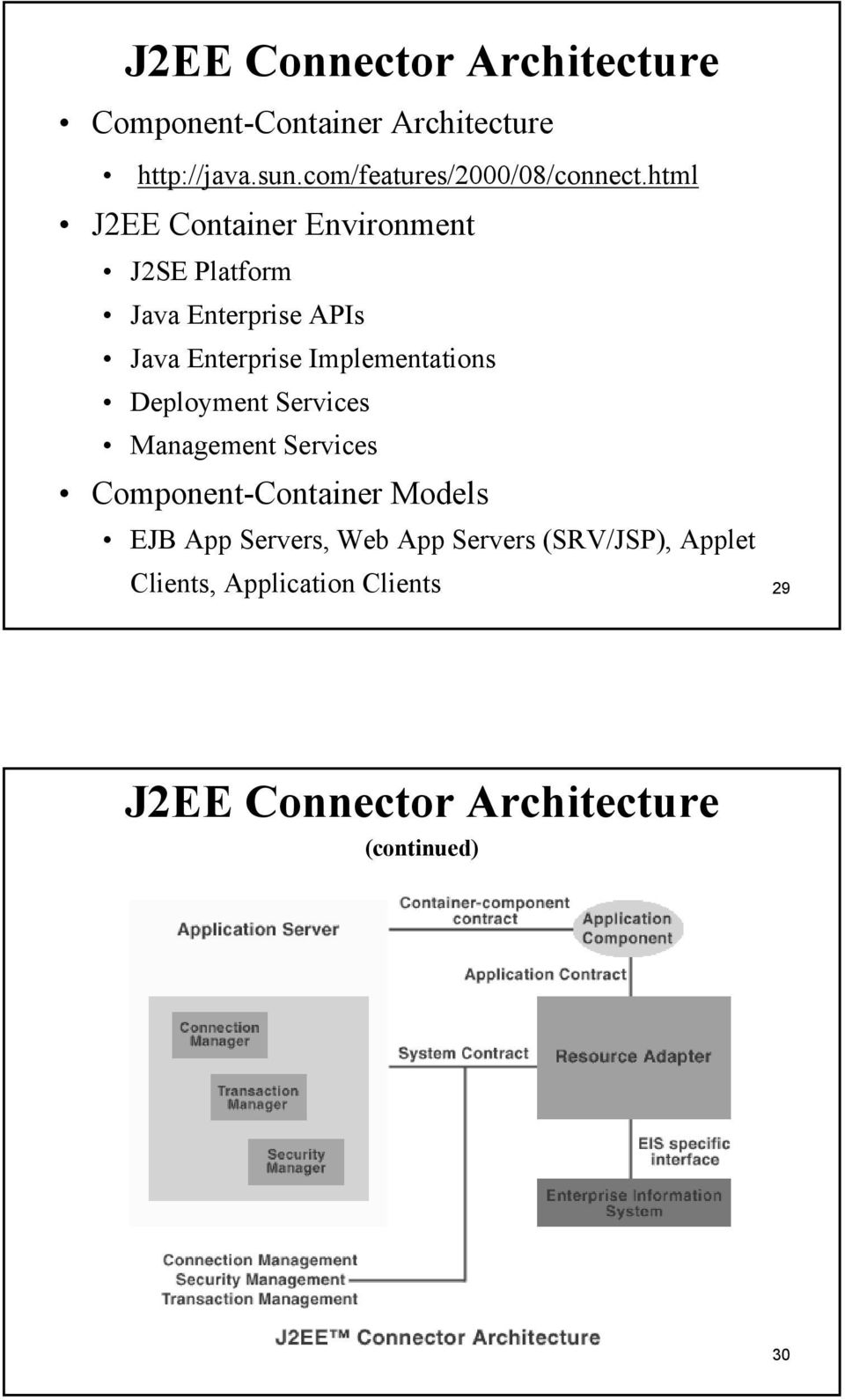 html J2EE Container Environment J2SE Platform Java Enterprise APIs Java Enterprise Implementations