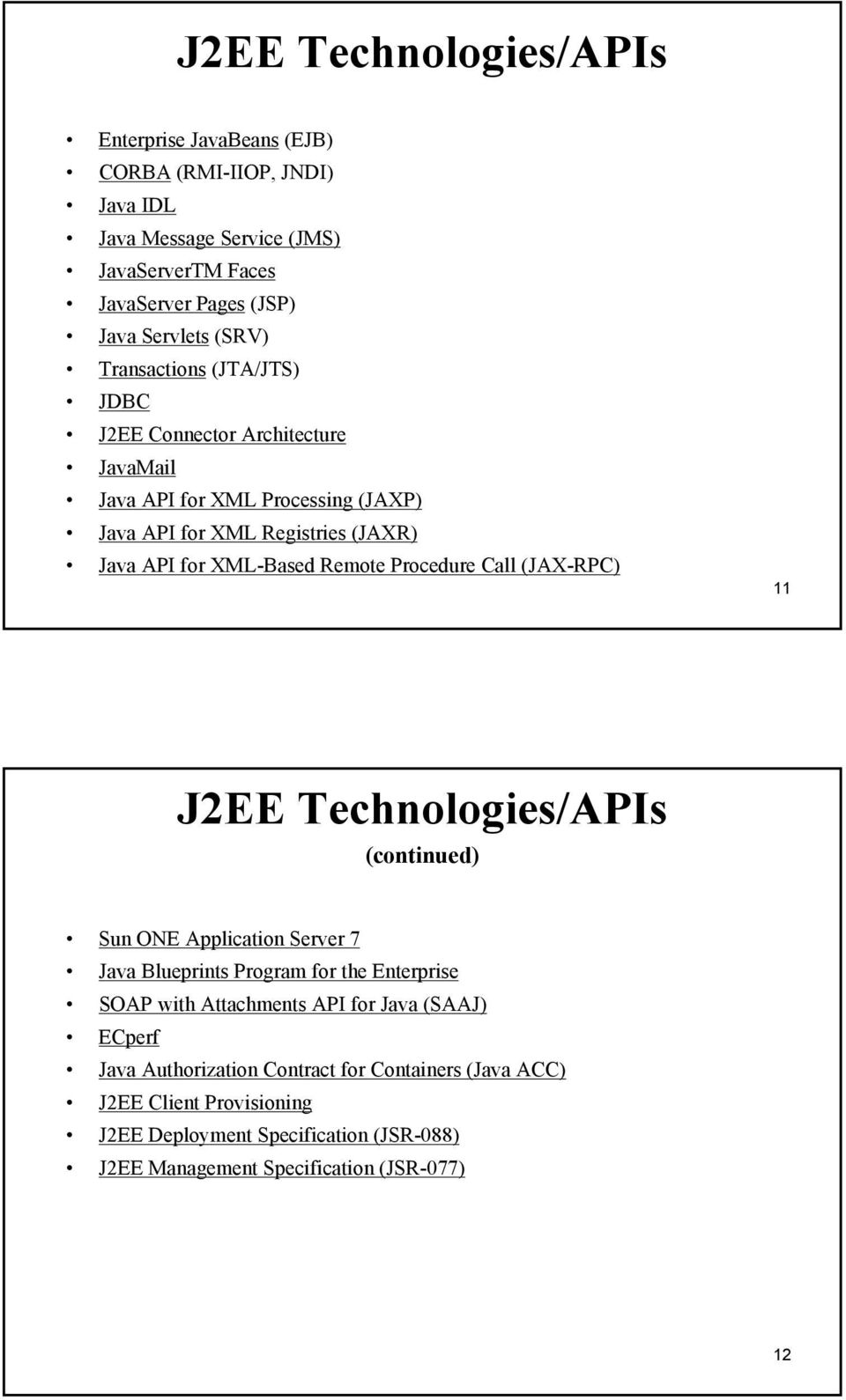 Procedure Call (JAX-RPC) 11 J2EE Technologies/APIs (continued) Sun ONE Application Server 7 Java Blueprints Program for the Enterprise SOAP with Attachments API for Java