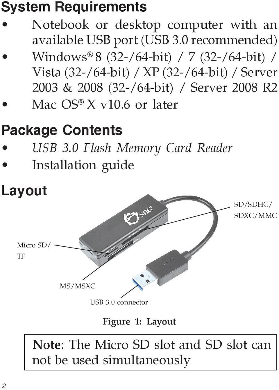 (32-/64-bit) / Server 2008 R2 Mac OS X v10.6 or later Package Contents USB 3.