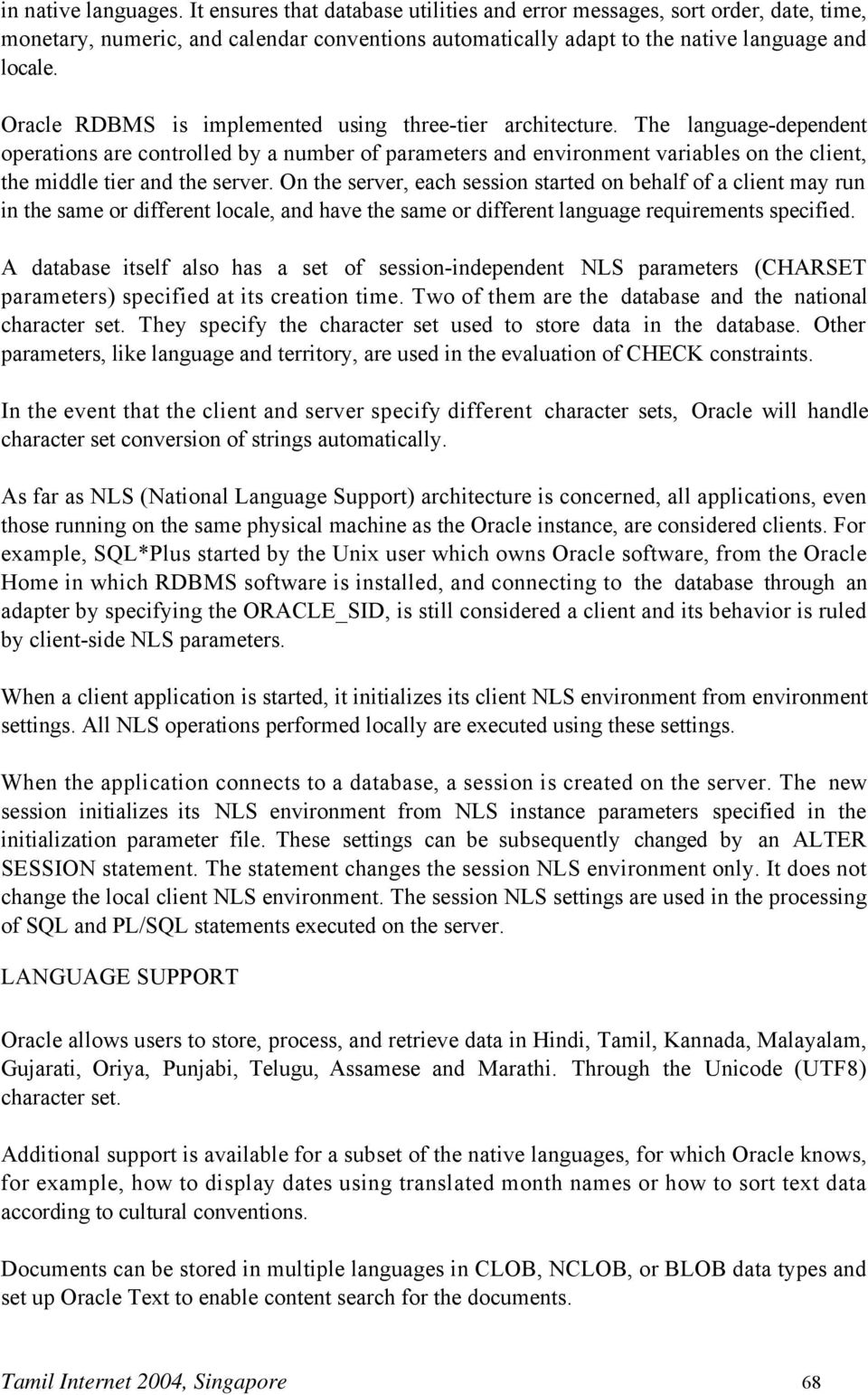 National Language (Tamil) Support in Oracle An Oracle White
