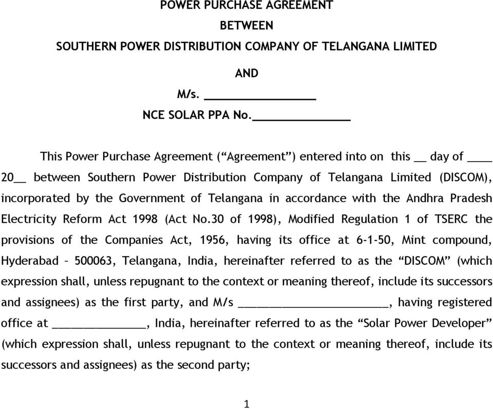 Power Purchase Agreement Between Southern Power Distribution Company