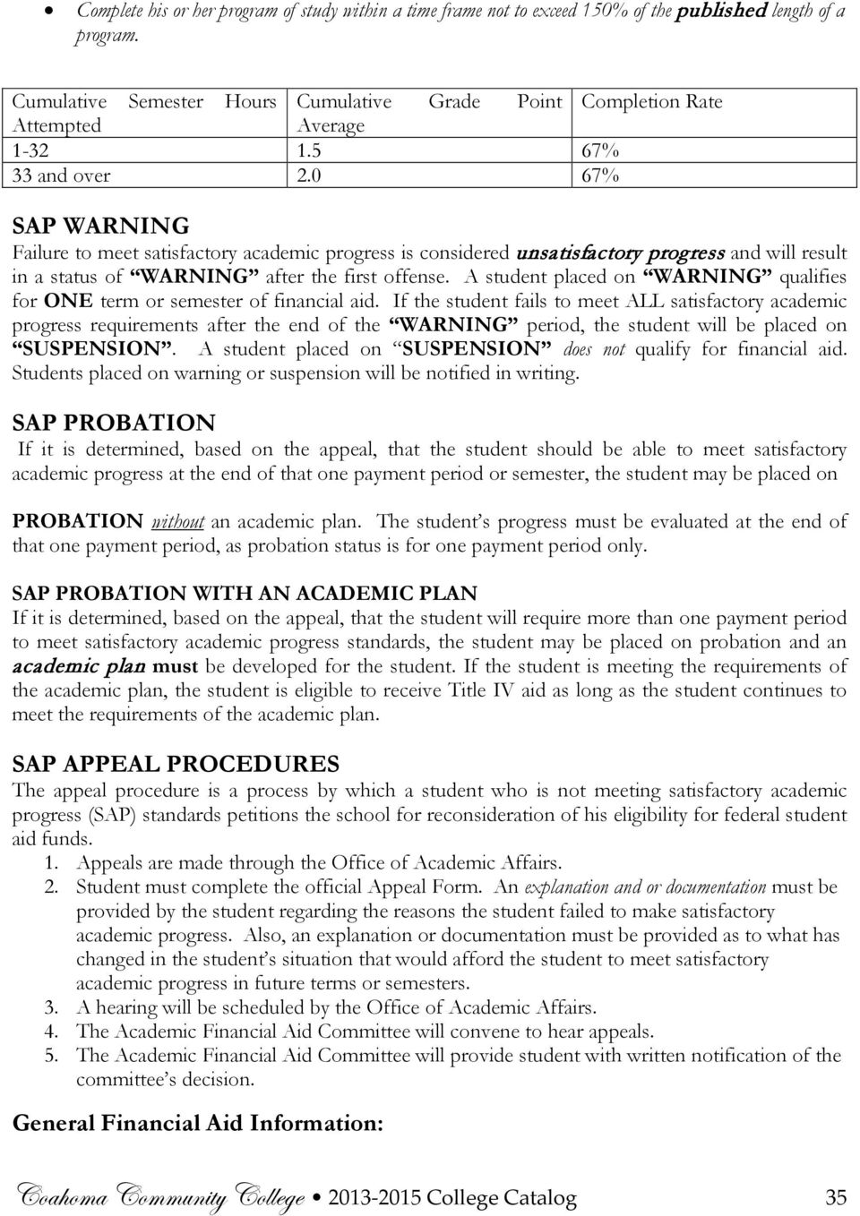 0 67% SAP WARNING Failure to meet satisfactory academic progress is considered unsatisfactory progress and will result in a status of WARNING after the first offense.