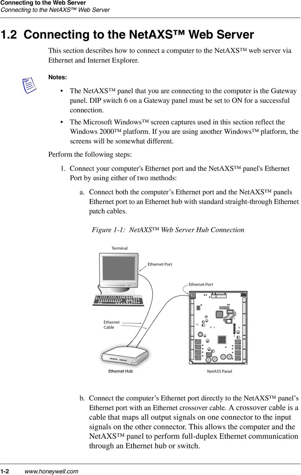 Access Control Unit User S Guide Pdf Cable For Connecting Computer To A Hub Or Switch Straight Through An Ethernet Notes The Netaxs Panel That You Are Is Gateway