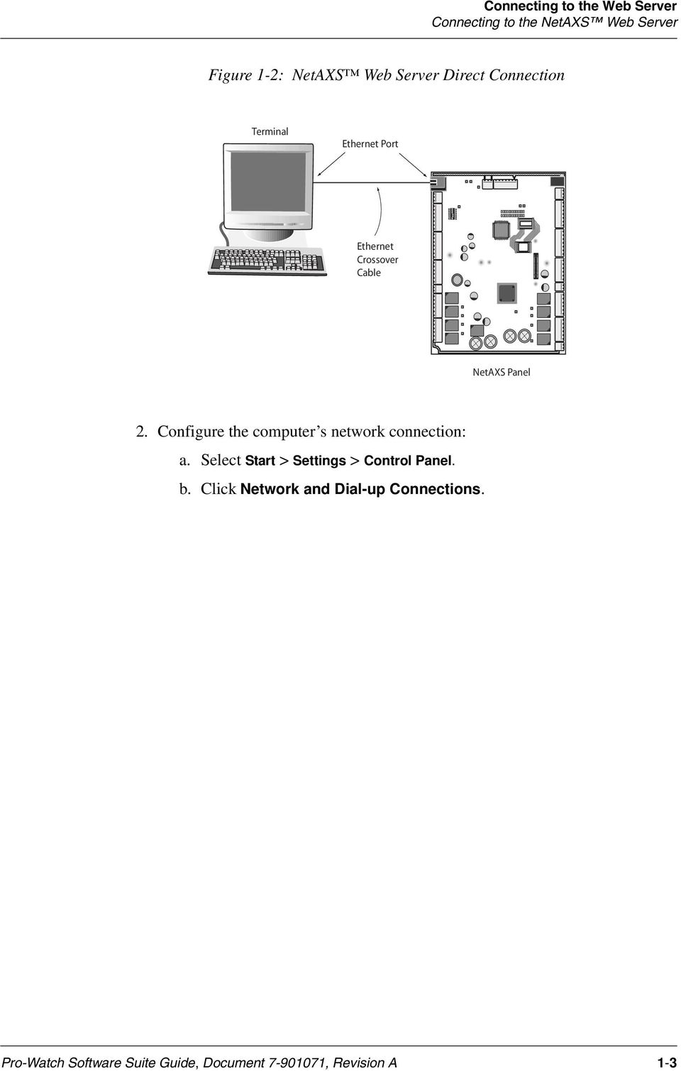Access Control Unit User S Guide Pdf Netaxs Single Door Wiring Diagram Configure The Computer Network Connection A Select Start Settings Panel