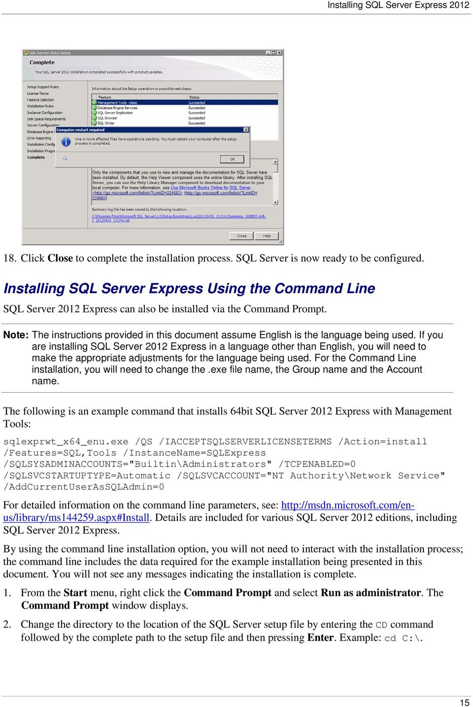 Installing and Configuring Microsoft SQL Server 2012 Express PI AF - PDF