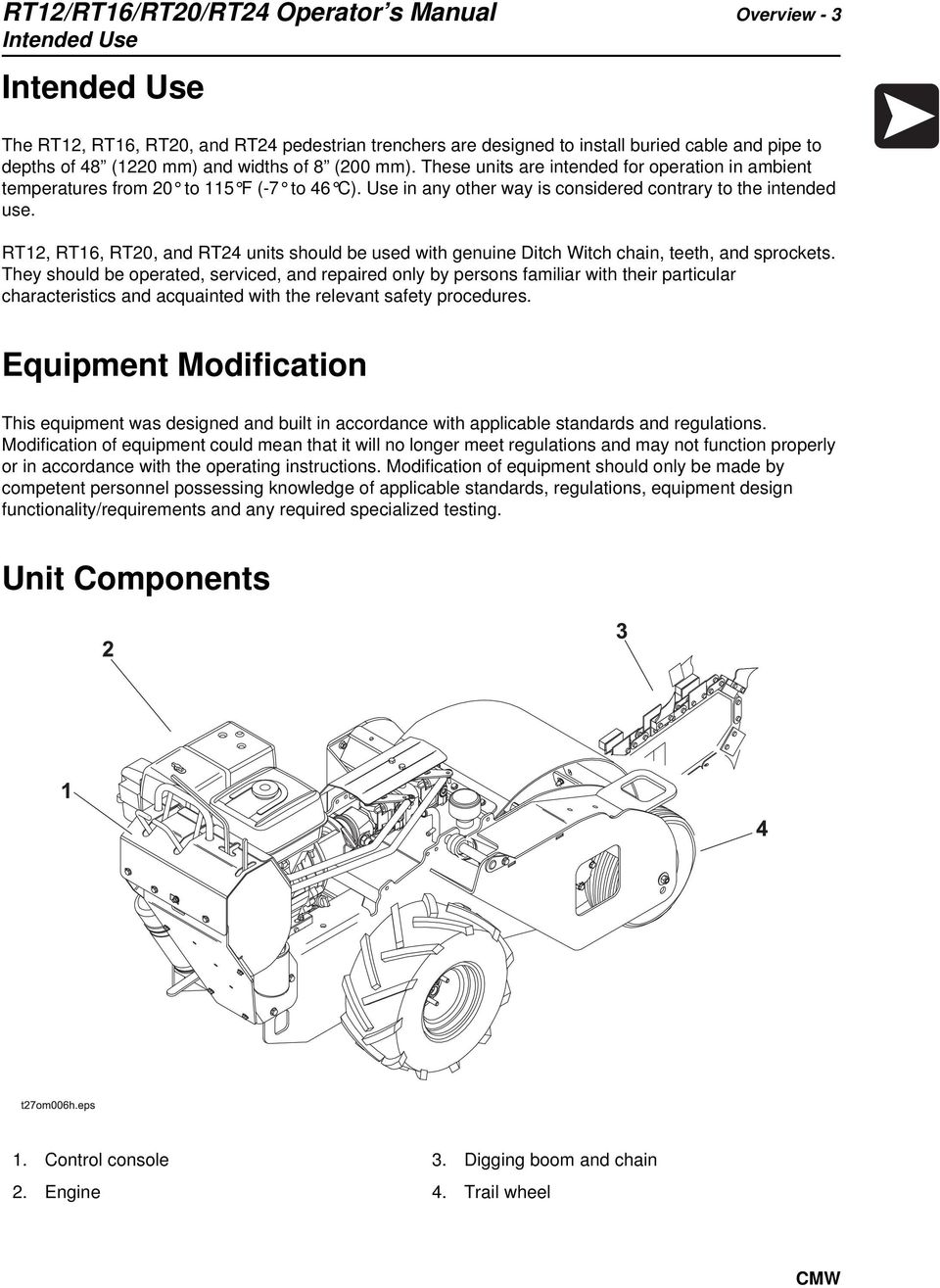 Rt12 Rt16 Rt20 Rt24 Operator S Manual Issue 10 Original Ditch Witch Wiring Diagram And Units Should Be Used With Genuine