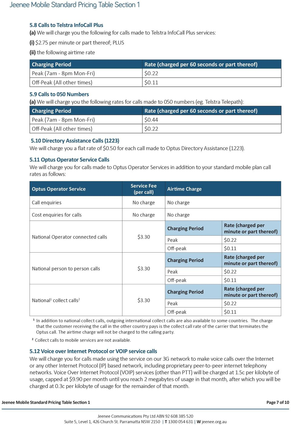 Jeenee Mobile Standard Pricing Table Section 1 General